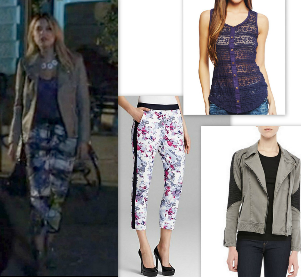 PLL Hanna's Style - Print Pants and Grey Leather Jacket
