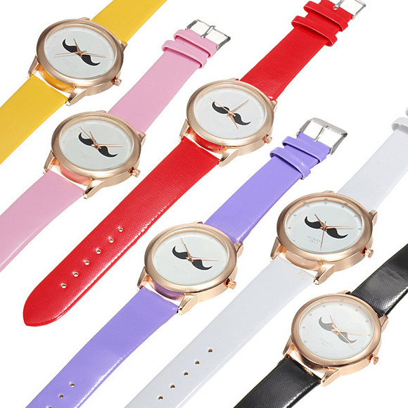 quartz jewels uniset mustache beard pu leather lovers wrist watch banggood
