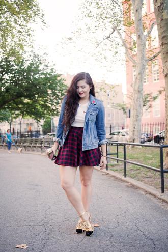noelles favorite things blogger jacket shirt skirt shoes