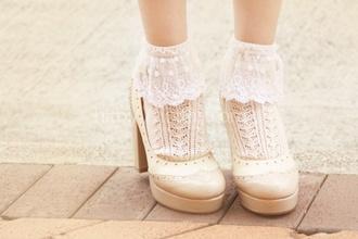 socks frilly vintage heels