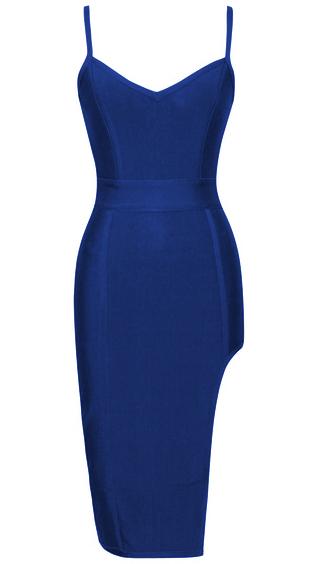 Side Slit Bandage Dress Blue
