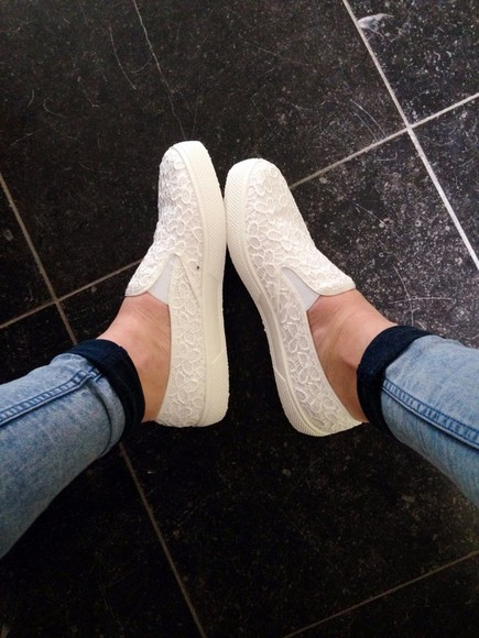 asos shoes white lace slip ons plimsolls slip-on