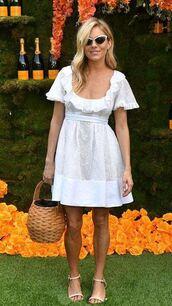 shoes,sandals,sienna miller,white,white dress,summer,summer outfits,summer dress,celebrity