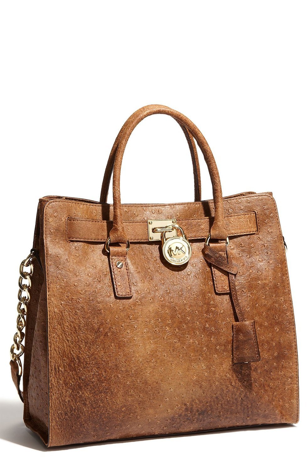 Michael kors mocha brown ostrich embossed leather hamilton ns large satchel tote: handbags: amazon.com