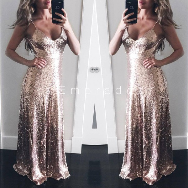 a027c843 dress gown maxi dress gown sequins sequins sequins dress sequin dress rose  gold rose gold gown