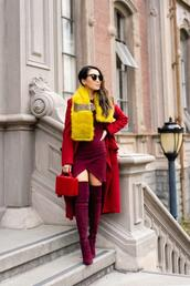 wendy's,lookbook,blogger,dress,coat,scarf,sunglasses,shoes,bag,fall outfits,thigh high boots,red coat,burgundy boots,red bag,fur scarf,burgundy dress