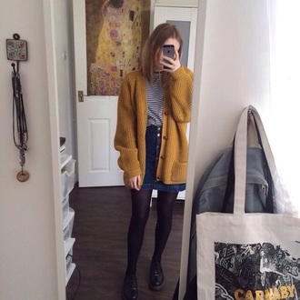 cardigan grunge alternative style skirt mustard sweater yellow black and white shirt tights mustard yellow cardigan denim skirt denim jacket stripes