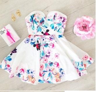 dress pink blue strapless short floral