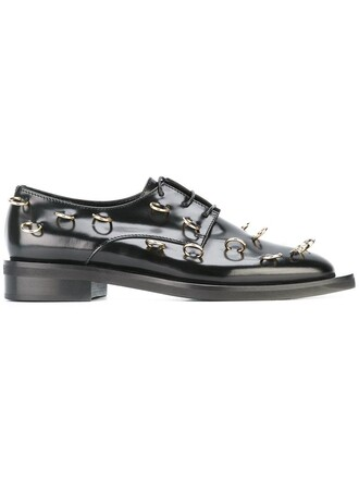 metal women embellished shoes leather black