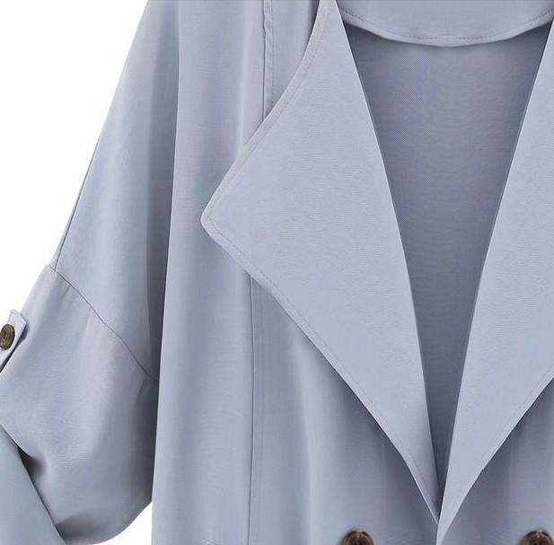 Blue Long Sleeve Pockets Trench Coat - Sheinside.com