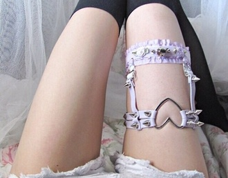 belt garter socks heart studs goth pastel goth