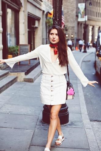 color me nana blogger button up skirt white blouse white skirt