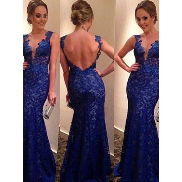 royal blue prom dress, blue lace dress - Wheretoget