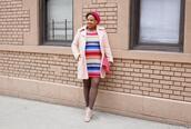 closetconfections,blogger,coat,sweater,dress,shoes,jewels,bag,striped dress,ankle boots,clutch,beret