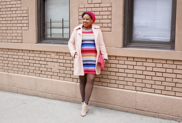 closetconfections blogger coat sweater dress shoes jewels bag striped dress ankle boots clutch beret