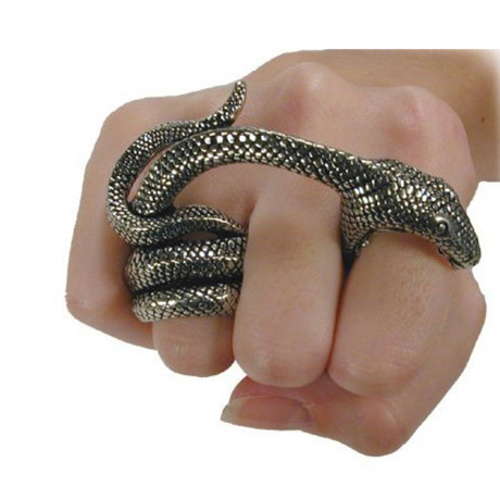 Adderbite two finger snake ring