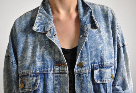 Vintage 1980s Retro Baggy Acid Wash Denim Jacket