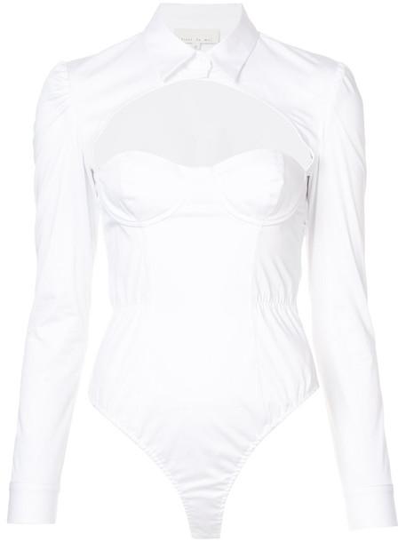bodysuit open women white cotton underwear