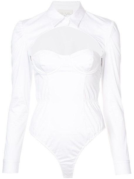 Fleur du Mal bodysuit open women white cotton underwear