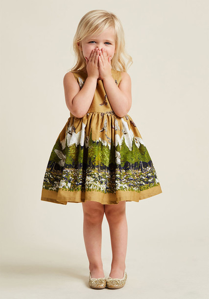 Martha Birds of Prey dress mustard dress lady book cotton mustard yellow