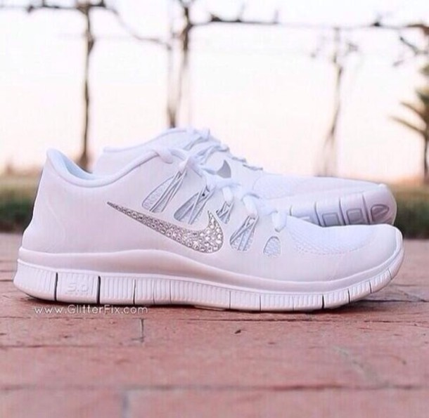 shoes white nike running shoes nike free run nike free runs sparkles