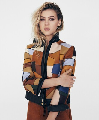 jacket nicola peltz celebrity celebrity style multicolor multicolor jacket brown jacket skirt suede skirt brown suede skirt brown skirt make-up geometric