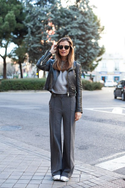 Pants: lady addict, blogger, sunglasses, grey, leather jacket ...