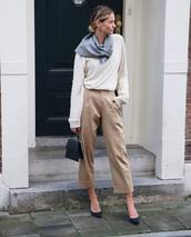 scarf,grey scarf,black heels,pointed toe pumps,pants,white sweater,handbag,black bag