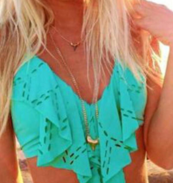 swimwear jewels teal bandeau bikini ruffle