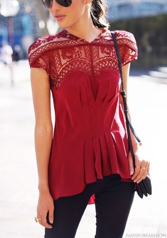 blouse red blouse crochet top pleated shirt red shirt lace top cute t-shirt red burgundy sweetheart neckline top high low hi lo ruffle cinched waist lace short sleeve