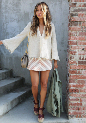 sincerely jules blogger sweater skirt jacket bag shoes