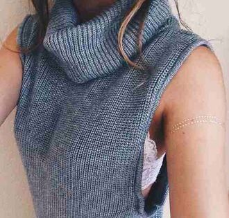 top jumper sweater turtle neck scarf woven knit knitwear weave grey warm cozy cut off sleeves sleeve sleeveless cute tumblr teenagers fall outfits winter outfits fashion style
