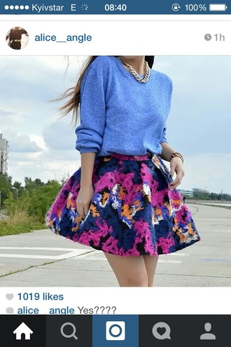 sweater skirt floral skirt chain necklace necklace chain jewels