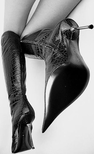 shoes leather high heel boots boots high heel boots snake skin metal heel high heels leather boots