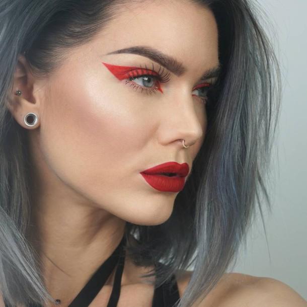 Make Up Tumblr Lipstick Lips Red Lipstick Eyebrows Eye Makeup