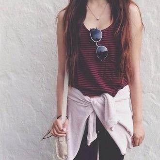 vintage blouse sunglasses red black top crop tops black red brown hair cardigan