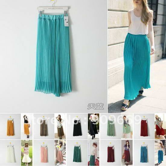 shipping blue/green/pink/red pleated fashion skirts womens plain ...