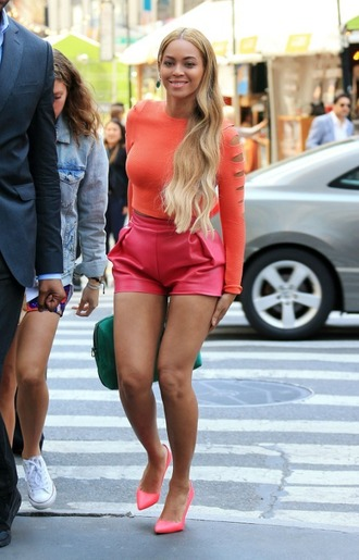 top long sleeves shorts leather shorts pumps beyonce