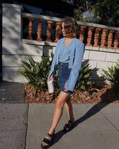 skirt,short skirt,denim,denim skirt,top,blue top,shirt,blue shirt,sandals,flat sandals,black sandls,bag