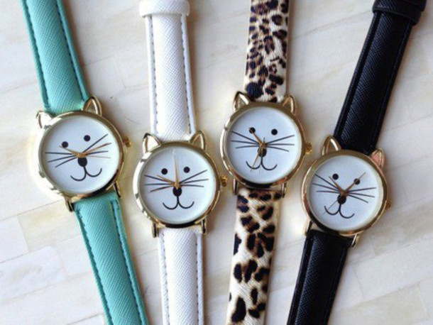 jewels watch watch bracelets cute cats cat face cat watch geneva internet tumblr vintage panter black white blue face fashion girly hipster grunge boho bohemian assessories