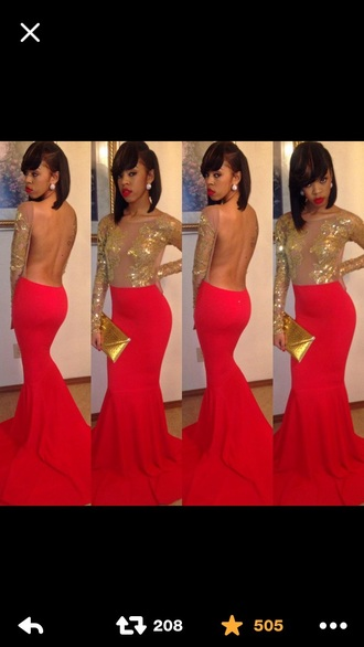 dress red dress red carpet dress red prom dress mermaid dresses long prom dress backless prom dress prom dress gold dress long sleeve dress red gold skinny clutch