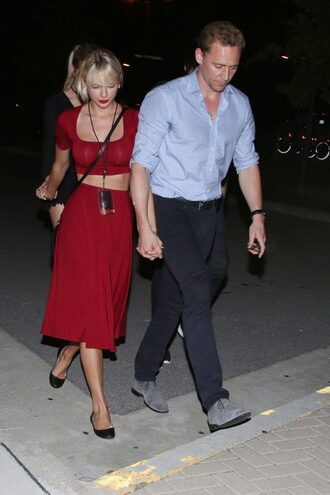 top crop tops taylor swift two piece dress set two-piece flats midi skirt summer outfits red dress