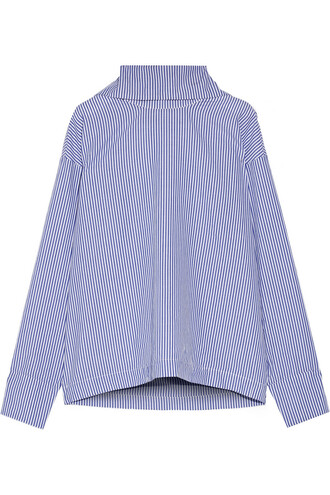 shirt oversized cotton blue top