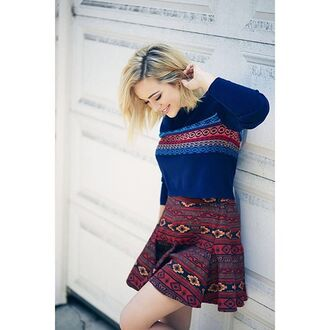 skirt bcbgeneration fall outfits aztec tribal pattern skater skirt fall skirt cropped sweater