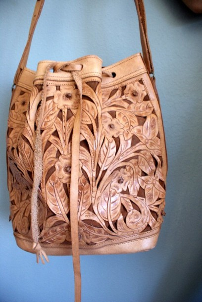 bad49c3028d5f bag boho boho bag bohemian tooled leather leather brown floral flowers  hippie hippie hippie bag hippy