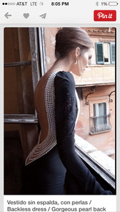 black dress,elegant black gown,backless dress with beading,dress