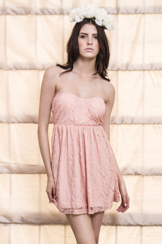 Total Flirt Lace Babydoll Dress-Pink | Obsezz