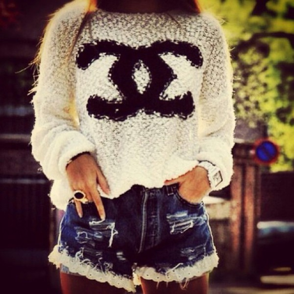 sweater fashion long sleeves doublec white