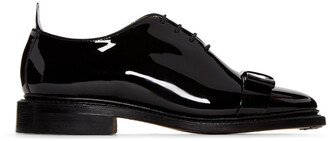 bow oxfords leather black shoes