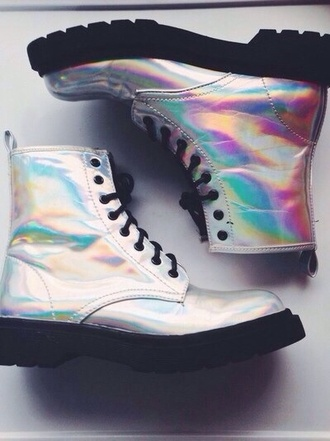 holographic grunge wishlist silver grunge goth reflective boots goth shoes combat boots hipster shoes combat holographic shoes shiny metallic shoes shirt rainbow